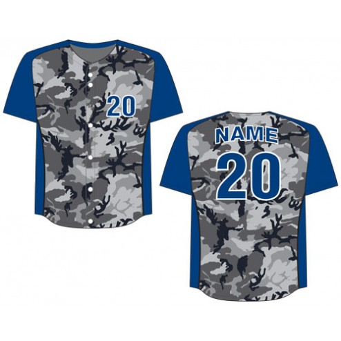 Men's Full Button Camo Baseball Jersey