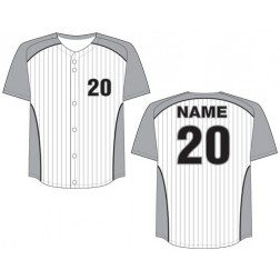Men's Full Button Pinstripe Baseball Jersey
