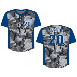 Men's Two Button Camo Baseball Jersey